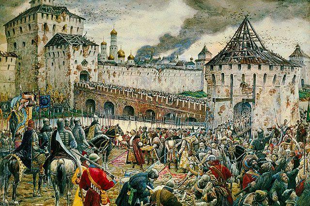 4 ноября 1612 года капитулировал вражеский польский гарнизон, занимавший Москву. Картина «Изгнание поляков из Кремля». Художник Эрнест Лисснер.