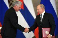 Владимир Путин и председатель Государственного Совета и Совета министров Республики Куба Мигель Диас-Канель Бермудес.