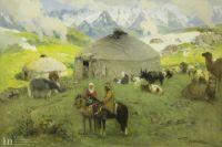Картина Григория Гуркина «Кочевье в горах» 1920-е гг.