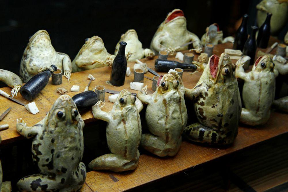 Экспонаты «Музея Лягушки» в в Эставайер-ле-Лак, Швейцария. Коллекция, созданная Франсуа Перье, представляет собой 108 лягушачьих чучел в сценах, изображающих повседневную жизнь XIX века.