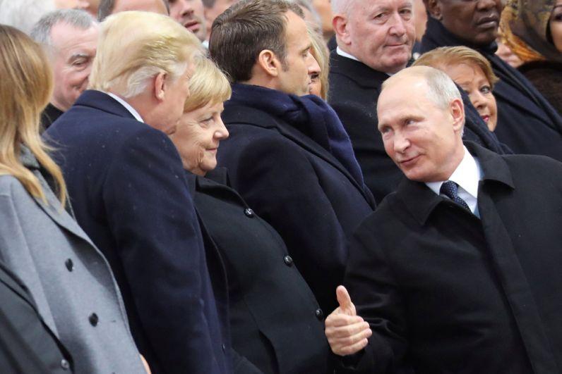 Президент США Дональд Трамп, канцлер ФРГ Ангела Меркель и президент РФ Владимир Путин.