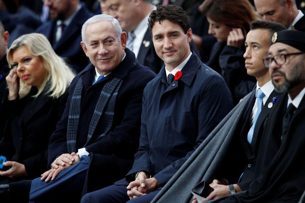 Премьер-министр Израиля Биньямин Нетаньяху с супругой, премьер-министр Канады Джастин Трюдо, Король Марокко Мухаммед VI и наследный принц Мулай Хасан.