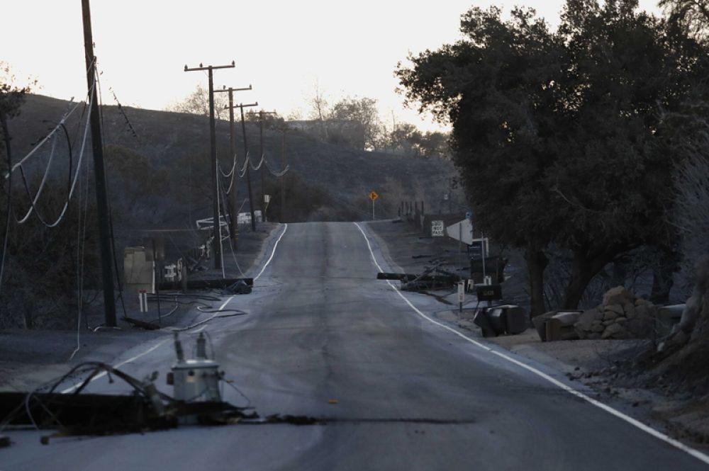 Поврежденные линии электропередачи вдоль шоссе Малхолланд в Малибу.