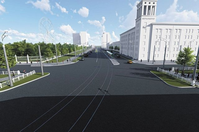 На участке от ул. Сибирской до ул. Куйбышева сделают трамвайные пути и четырёхполосное движение.