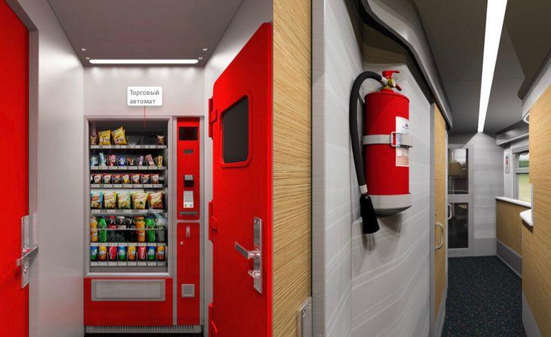 В тамбурах установлены вендинговые автоматы.