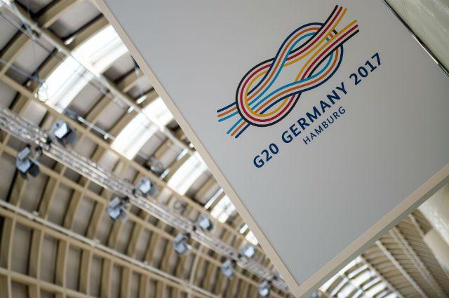 логотип саммита G20 в Германии в 2017 году, архивное фото