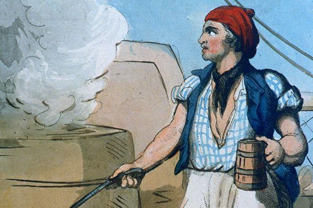 Корабельный кок с кружкой пива. Художник Томас Роулендсон, 1799 г.