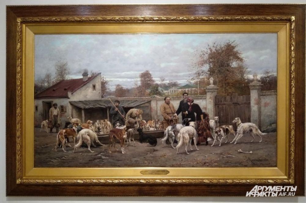 Алексей Кившенко - автор знаменитой исторической картины «Военный совет в Филях», запечатлевшей один из важнейших моментов Отечественной войны 1812 года. В сознании широкой общественности он по-прежнему остается художником «одной картины». На выставке предствлена работа «На псарне».