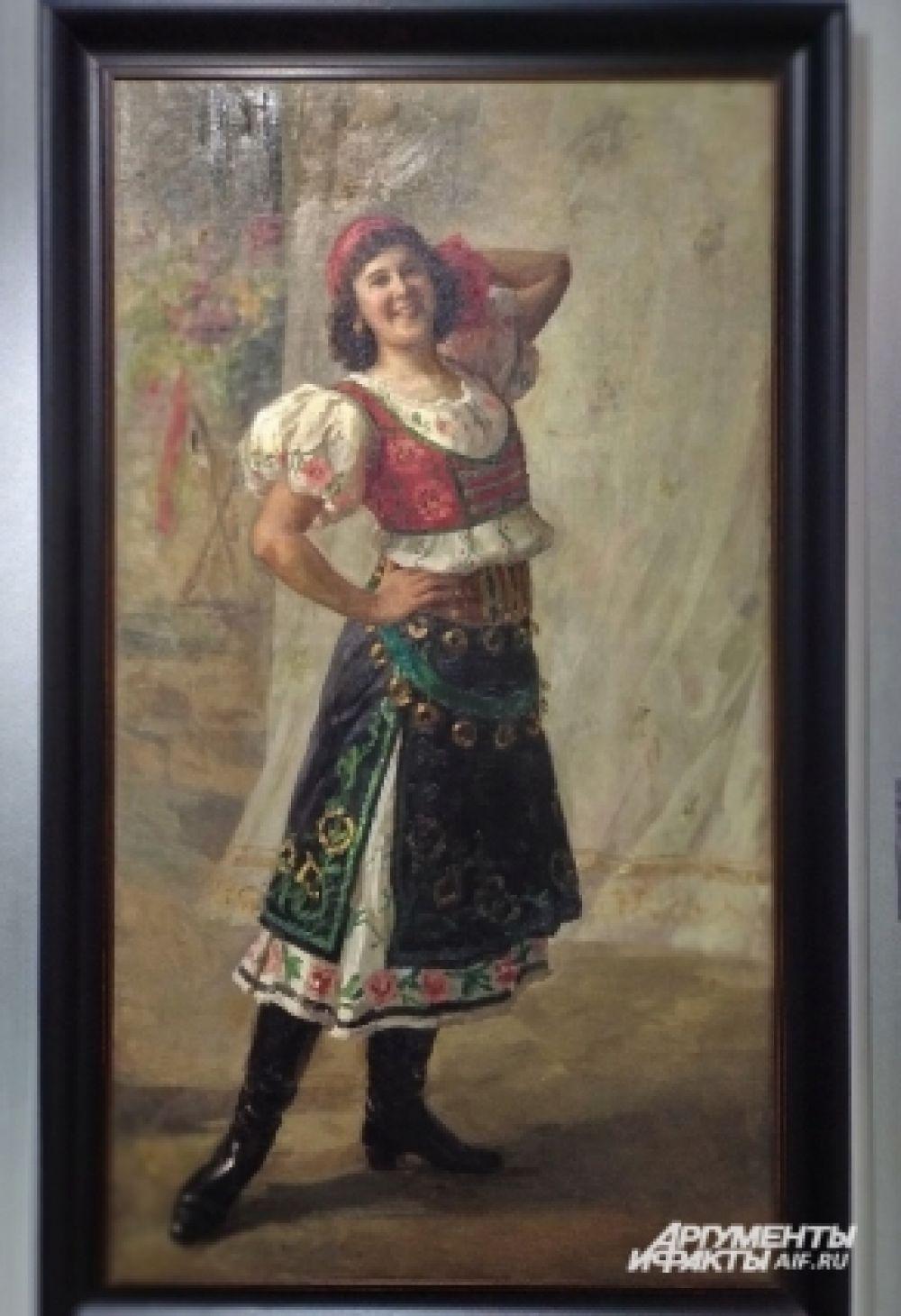 «Портрет балерины Лопуховой» Федота Сычкова. В 1910-е годы его работы имели успех не только на выставках в России, но и в парижском Салоне, где они охотно раскупались любителями живописи, проявлявшими интерес к жизни и искусству нашей страны.