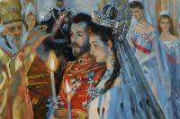 Картина Л. Туксена «Венчание Николая Александровича и Александры Федоровны».