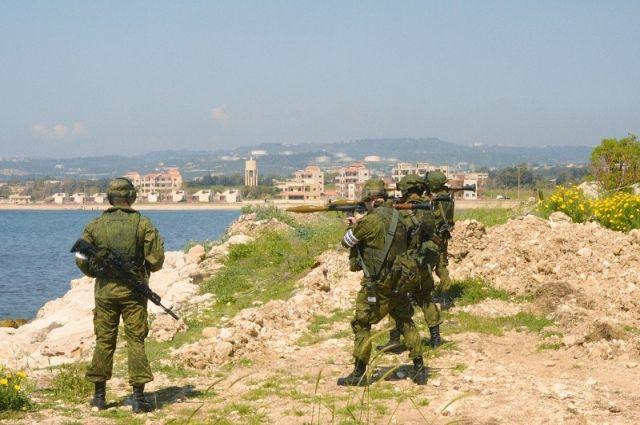Совместные учения российских и сирийских морских пехотинцев в Тартусе.