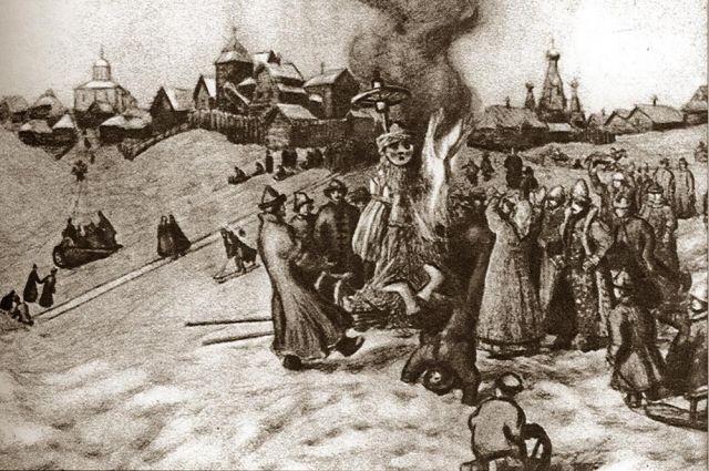 Васнецов А. М. Сжигание чучела Масленицы.