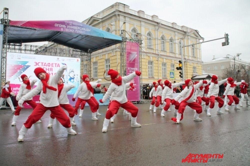 Торжественная церемония открытия иркутского этапа Эстафеты огня.
