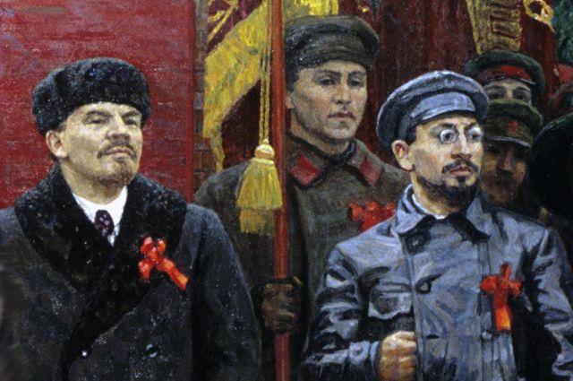 Владимир Ленин и Лев Троцкий. Фрагмент картины «Красная площадь 7 ноября 1918 года». Автор — народный художник РСФСР А. Белых.
