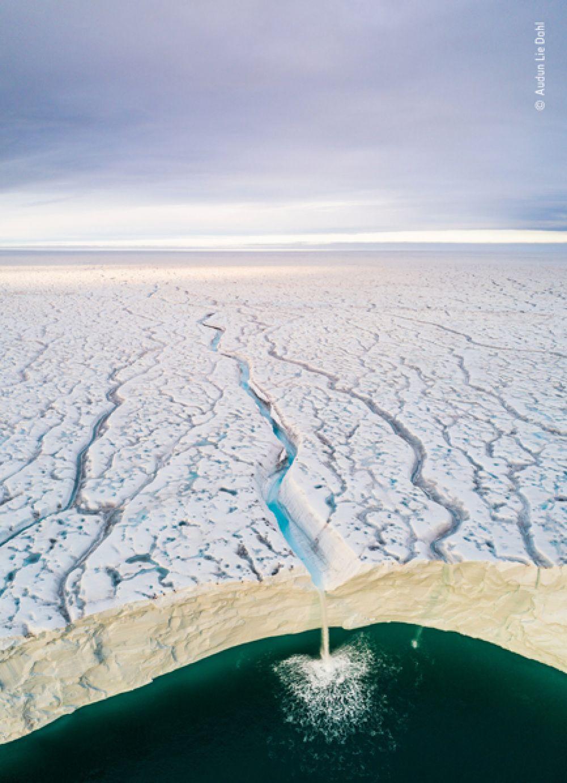 Встреча воды и льда на леднике Бросвелльбреэн в Норвегии.