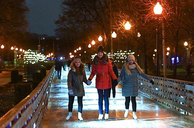 Каток в Парке Горького в Москве.