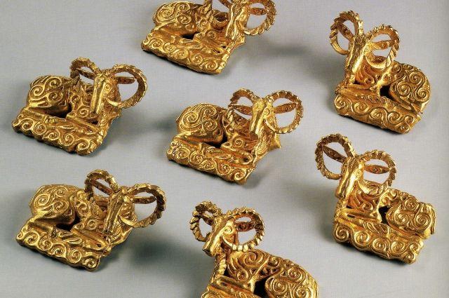 Золотые архары (горный баран) из тайника сарматов.