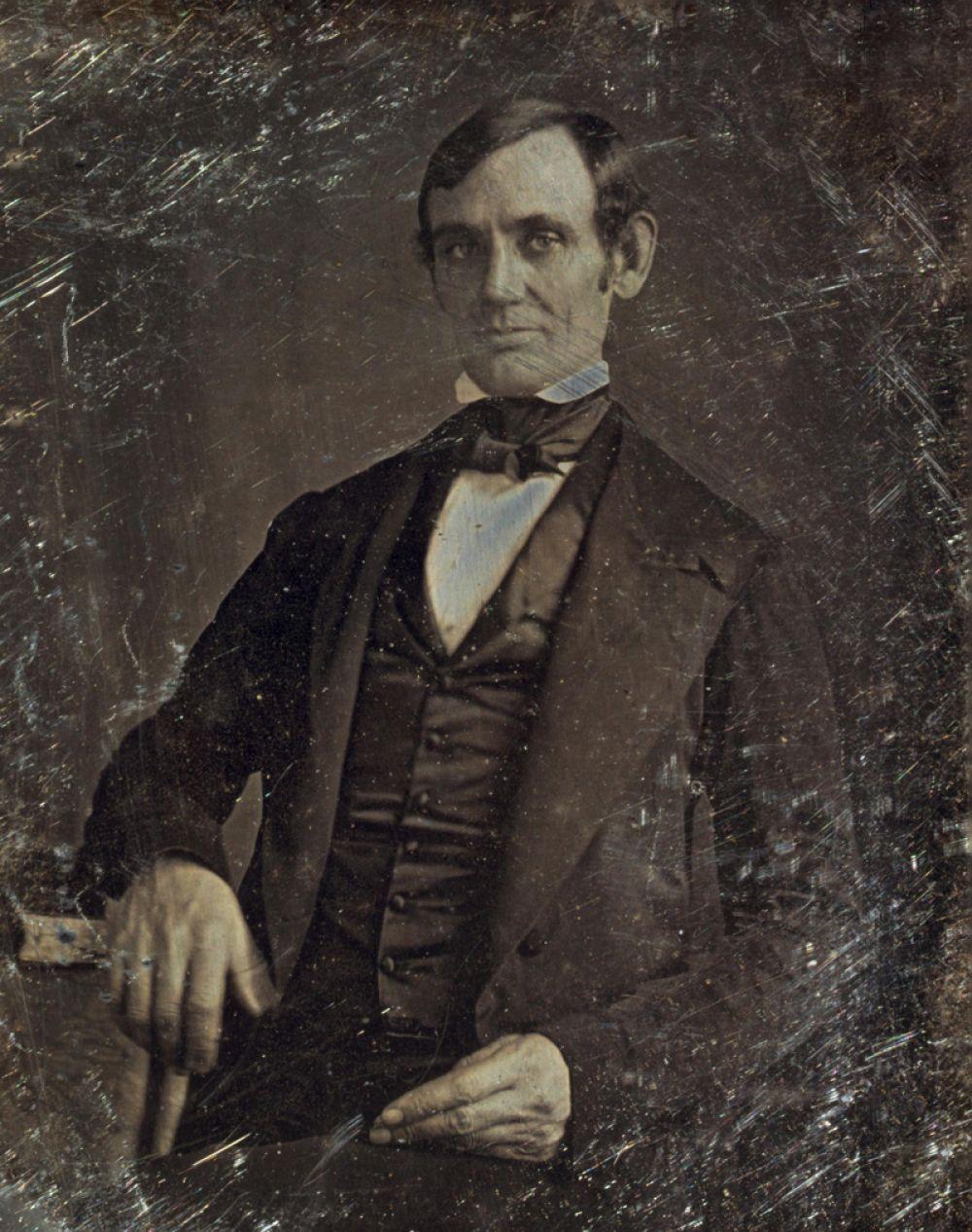 Первый снимок Авраама Линкольна, снятый в 1846 году. Авторство приписывается Николасу Шепарду из Спрингфилда.