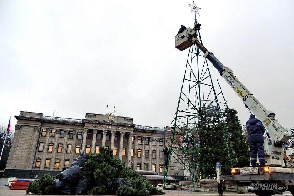 Рабочие собирают новогоднюю ёлку напротив здания Законодательного собрания Краснодарского края.