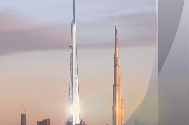 Проект небоскреба Jeddah Tower в сравнении с башней «Бурдж-Халифа».