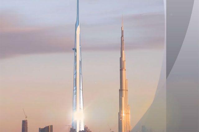 Проект небоскреба Jeddah Tower в сравнении с башней «Бурдж-Халифа».