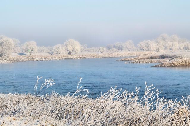 Температура воды в зимней Ангаре чуть выше 3 градусов Цельсия.