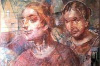 """Под произведением Петрова-Водкина """"Колхозницы"""".Эскиз.1937-1939 был обнаружен ранее написанный портрет А.С. Пушкина."""