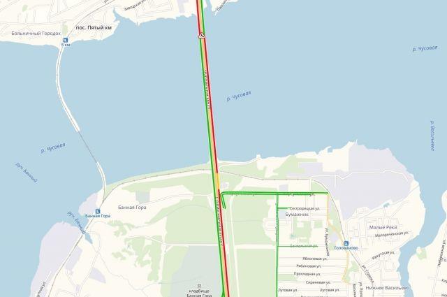 Сервис Яндекс. Пробки показывает, что длина пробки – более семи километров. Скорость движения на разных участках – 5-7 километров в час