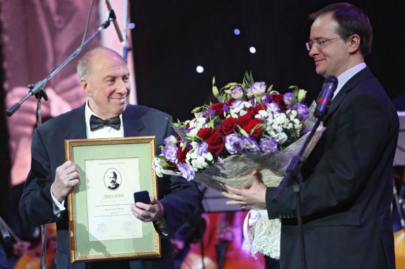 Актер и режиссер Сергей Юрский, получивший премию за выдающийся вклад в развитие российского театра на торжественной церемонии вручения Международной премии Станиславского, 2013 год.