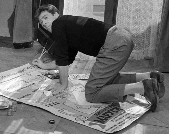 На съемках фильма «Золотой теленок». В роли Остапа Бендера – Сергей Юрский. 1967 год.