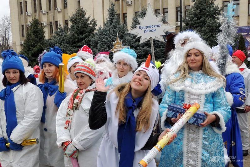 Весёлый снеговик из Кущёвского района.