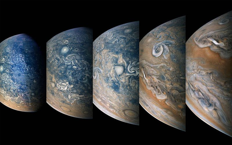 Серия изображений северного полушария Юпитера, сделанных с помощью межпланетной станции «Юнона».