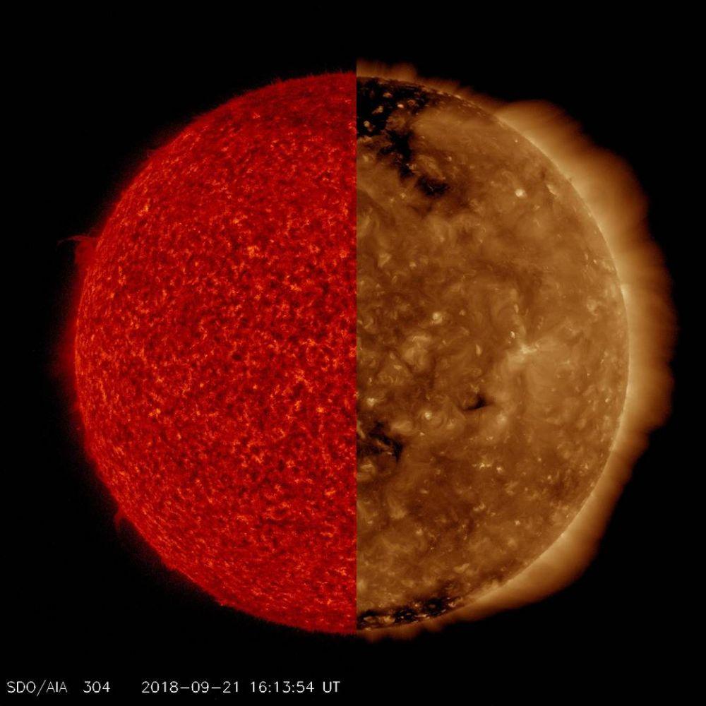 Два снимка Солнца, снятые на разной длине волны ультрафиолетового излучения. Такие наблюдения позволяют обнаружить разные особенности звезды, которые заметны в одних условиях и невидимы в других.