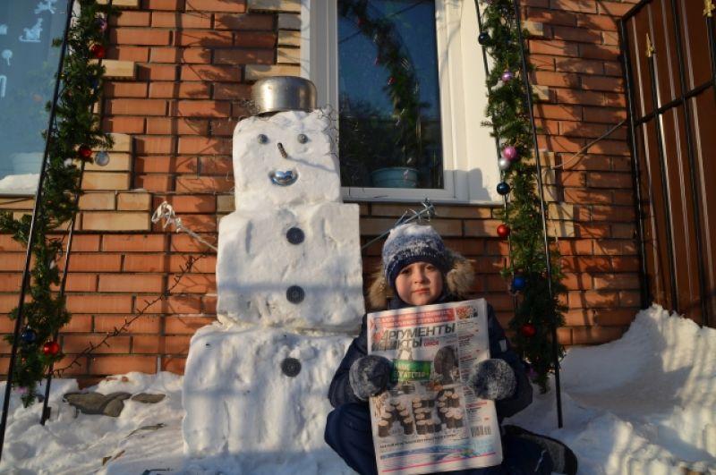 Артём Кладиёв, 7 лет. Номинация «Самый фантастический снеговик-2019».