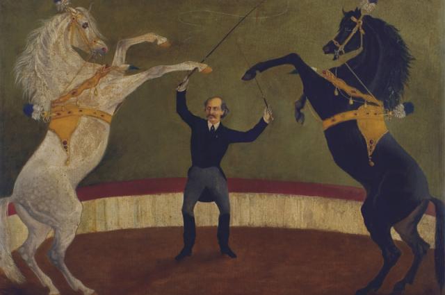 Чинизелли исполняет номер с лошадьми «на свободе». Э. Мартиник, 1877