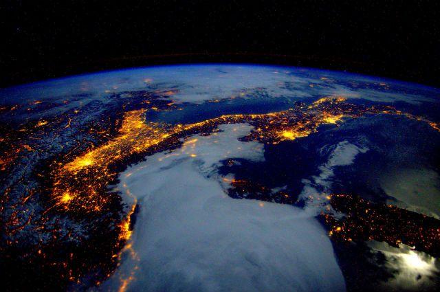 вид на Землю с МКС, архивное фото