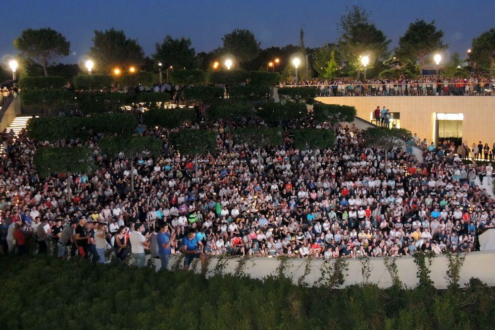 Чемпионат мира по футболу. На фото: заполненный до отказа амфитеатр парка «Краснодар» во время трансляции матча со сборной России.