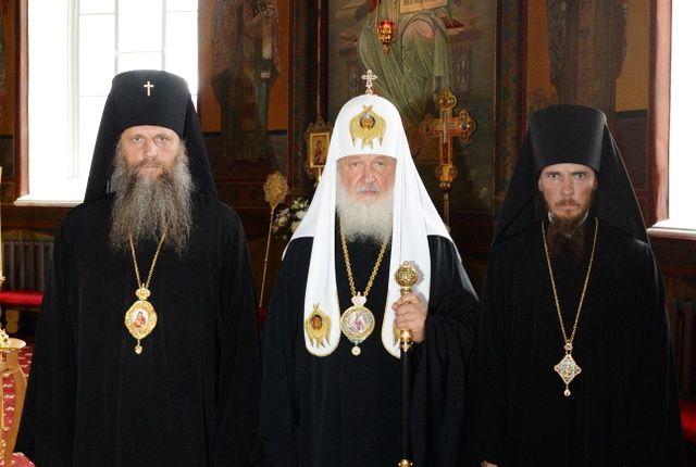 Патриарх Кирилл с архиепископом Артемием и епископом Феодором