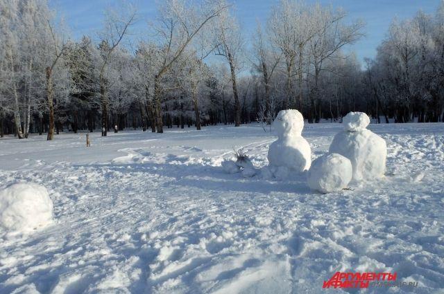 Неизвестные в Омской области разбили снежные новогодние скульптуры