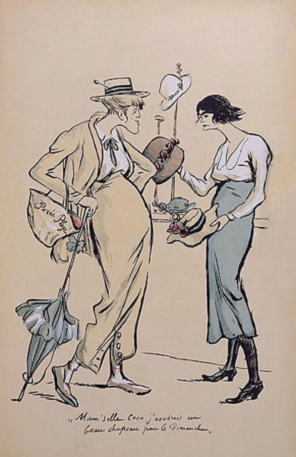 """""""Шанель в шляпном магазине"""" рисунок 1919 года. Долгое время Коко Шанель приходилось мириться со скрытыми насмешками в свой адрес - о ней судачили в каждом салоне Парижа, а известный художник тех лет - Сэм, однажды нарисовал на дизайнера несколько карикатур. Но Шанель отвечала неизменное: """"Мне наплевать, что вы думаете. Я о вас не думаю вообще""""."""