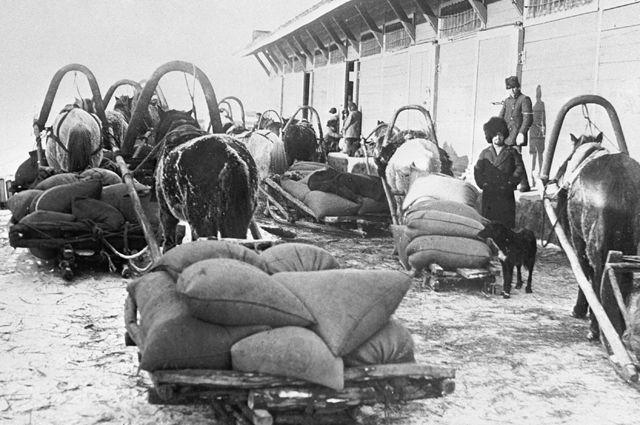 Крестьяне сдают зерно по продразверстке на ссыпном пункте железнодорожной станции Макугино.
