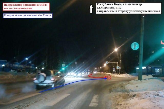 Авария произошла на перекрёстке в 19.15 в Сыктывкаре.