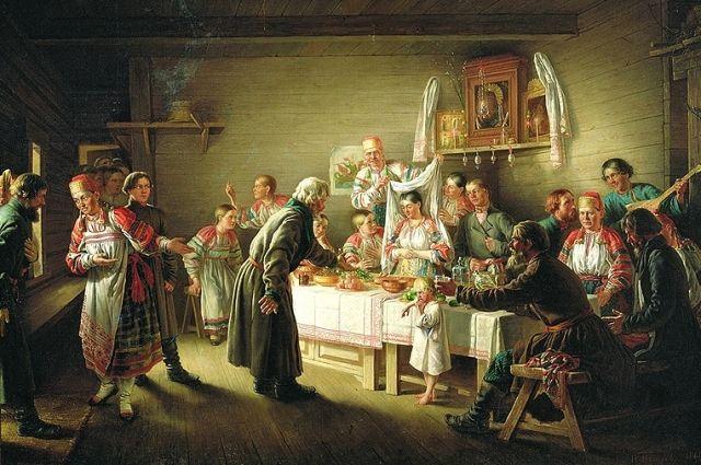 «Смотрины невесты». Художник Н. П. Петров, 1861 год.