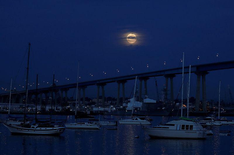 Затмение над мостом Коронадо в Сан-Диего.