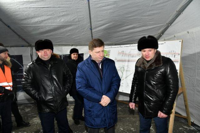 Сергей Фургал проверил, как идет строительство дороги «Уссури».