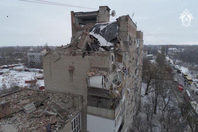 Разрушенные взрывом верхние этажи дома