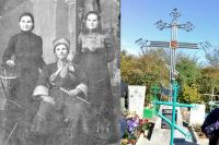 Расстрелянный казак Семён Притворов (слева) похоронен на кладбище хутора Евдокимовского на Ставрополье.