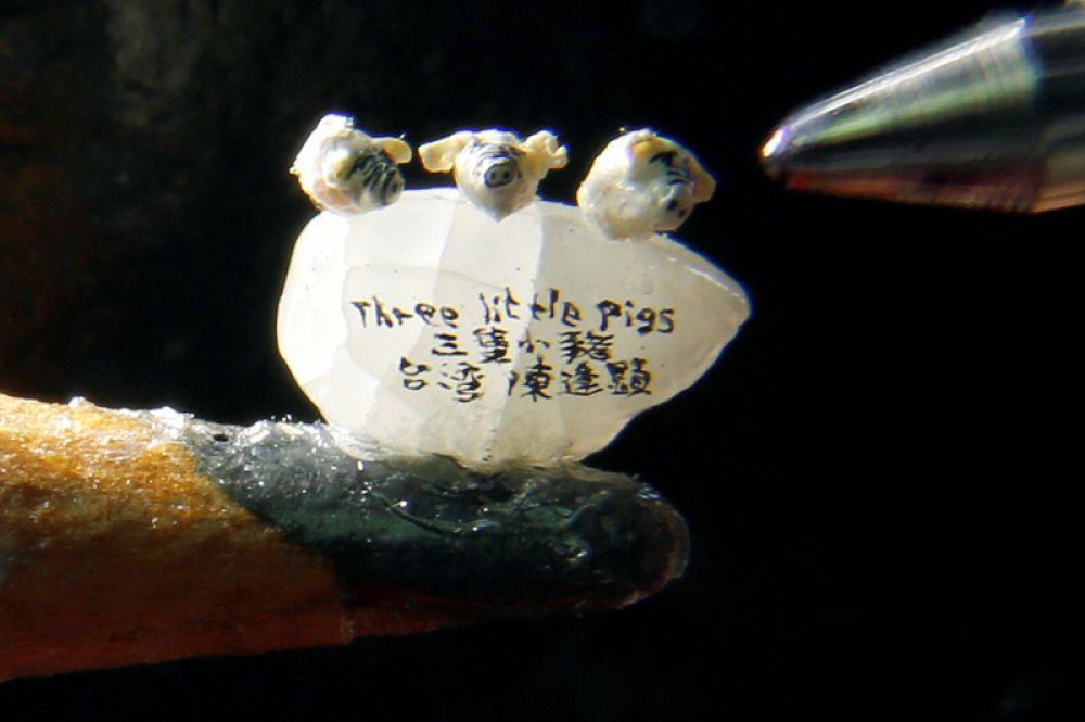 Миниатюрные фигурки свиней длиной около 1 мм, созданные тайваньским художником Ченом Форнг-Шином в преддверии китайского Нового года, стоят на кончике карандаша.