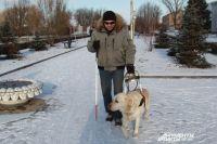 Михаил Шубин и его собака-поводырь Макс.