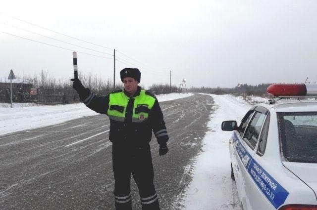Сотрудники ГИБДД спасли замерзающих на трассе.